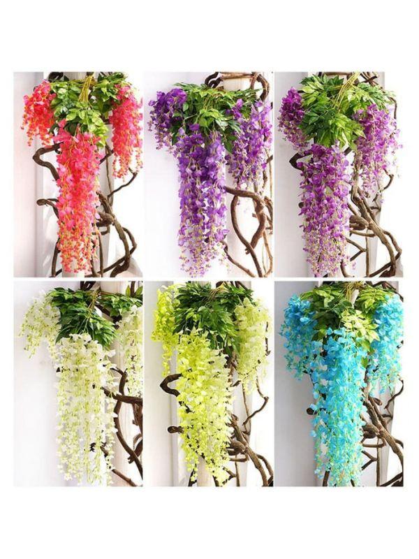 Bunga Wisteria Gantung Bunga Hias Palsu Dekorasi Tanaman